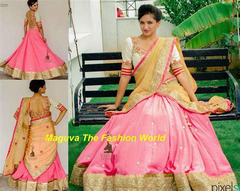 Pink And White Embroided Half Saree By Varuna Jitesh