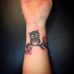 Small Owl Wrist Tattoo Designs for Women