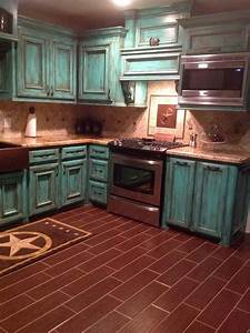 turq and brown kitchen i love this however im unsure if With kitchen cabinets lowes with teal and brown wall art
