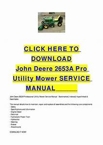 John Deere 2653a Pro Utility Mower Service Manual By Cycle