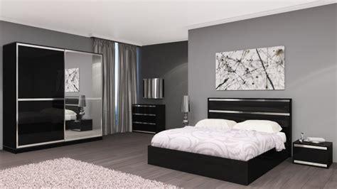 chambre adulte complète design italien chrono noir laqué