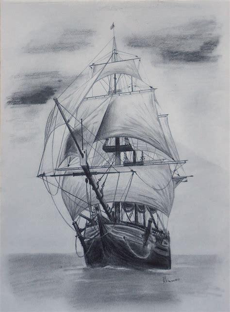 Old Tall Ship Sail Ship Sketch Original Art Graphite