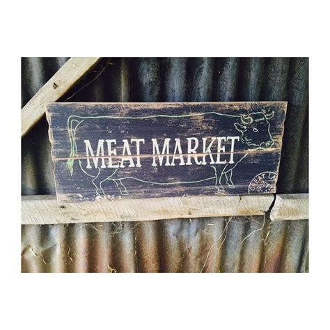 meat market wooden wall sign  vintage antique  man