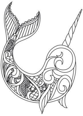 Dark Narwhal design (UTH13422) from UrbanThreads.com | Narwhal tattoo, Narwhal drawing, Drawings