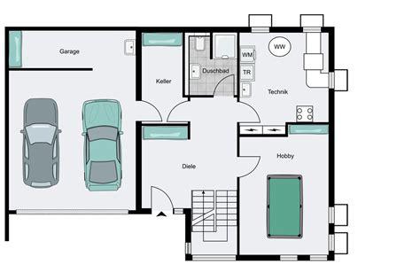 Grundriss Haus Integrierte Garage by Einfamilienhaus Mit Integrierter Doppelgarage Grundriss