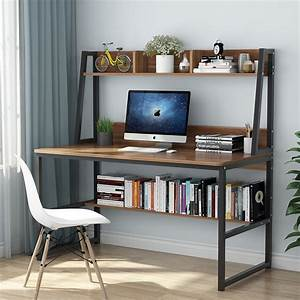 Tribesigns, Computer, Desk, With, Hutch, And, Bookshelf, 47, U0026quot, Home, Office, Desk, With, Space, Saving, Design