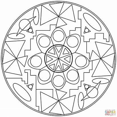Coloring Mandala Abstract Mandalas Pages Printable Drawing