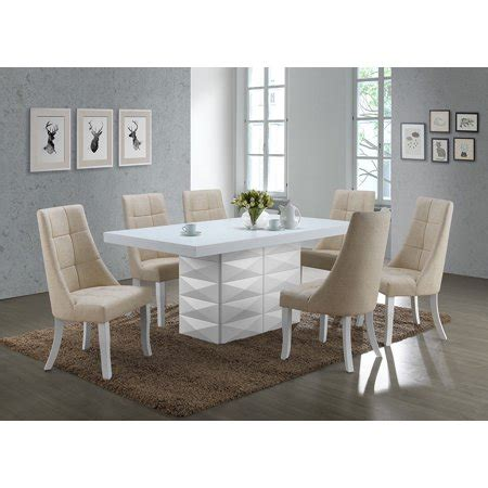 piece white wood modern rectangle dinette dining room