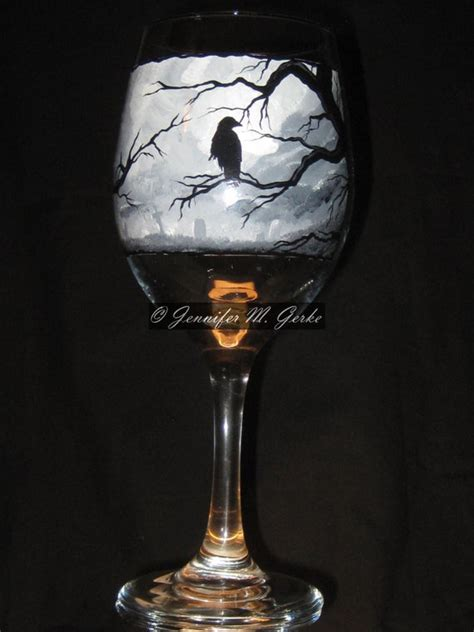 gothic graveyard hand painted wine glass