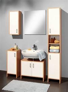 Meuble Lavabo Salle De Bain : meuble sous lavabo solo hetre blanc ~ Teatrodelosmanantiales.com Idées de Décoration