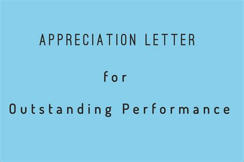 appreciation letter  outstanding performance