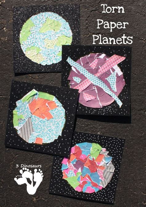 easy   torn paper planets space crafts space
