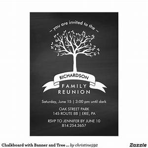 Chalkboard with Banner and Tree Family Reunion Invitation ...