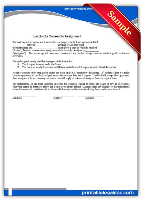 printable landlord consent  assignment form generic