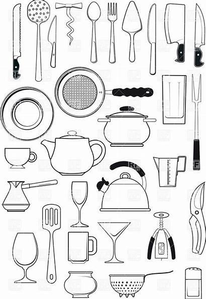Kitchen Utensils Tableware Clipart Utensil Vector Silhouettes