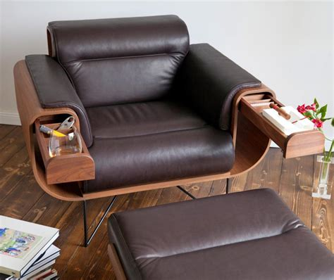 Armchair With Storage by El Purista Leather Arm Chair With Slide Out