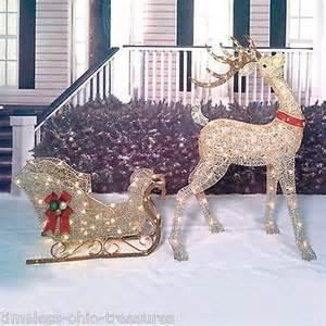2 lighted reindeer sleigh set buck deer outdoor lit yard decor what 39 s it worth