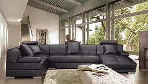 Canapé En U Cuir : photos canap panoramique cuir ~ Teatrodelosmanantiales.com Idées de Décoration
