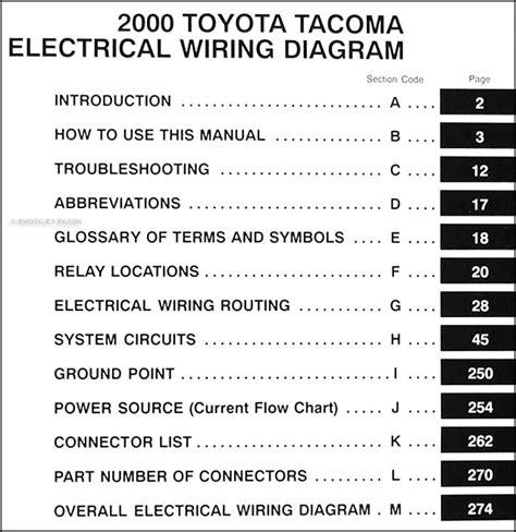 toyota tacoma pickup wiring diagram manual original