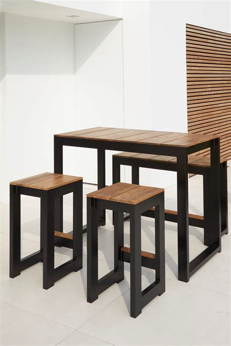 Dining Table With Stools by Modern White Black Aluminum Teak Bar Stools Table Contract