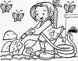 Coloring Pages Watering Plant Children sketch template