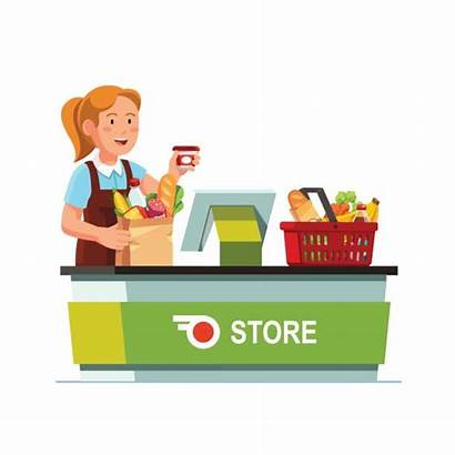 Grocery Cashier Counter Checkout Working Vector Clerk