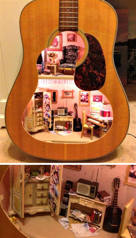 clever ways  repurpose  guitars home design
