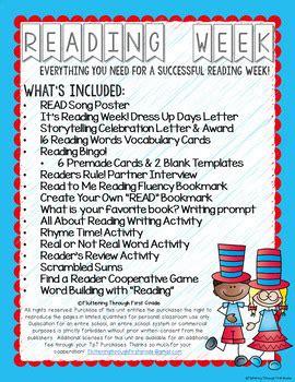 reading week print   activities  celebrate
