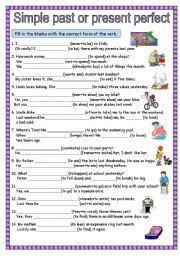 english worksheet simple   present perfect