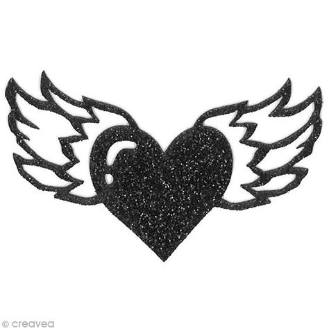 couture accessoire cuisine motif thermocollant rock tatouage coeur ailé 7 x 4 cm