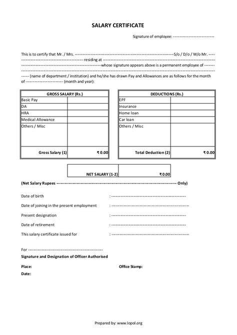 salary certificate formats word excel