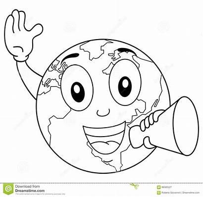Earth Coloring Megaphone Character Happy Cartoon Drawing
