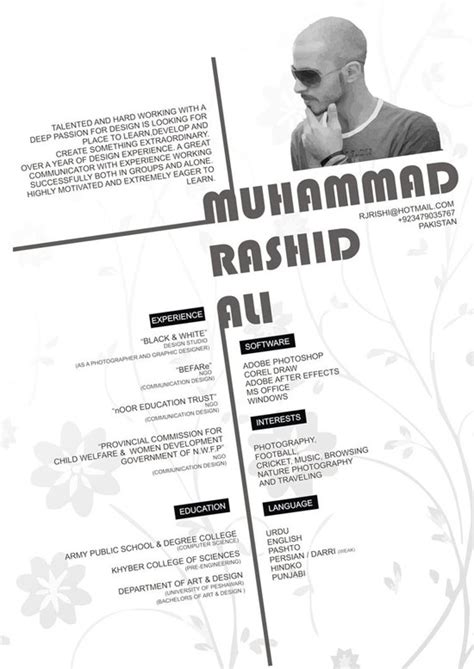 Graphic Designer Resume Inspiration by Muhammad Rashid Ali Creative Resume Inspiration