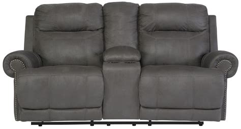 double recliner sofa with console signature design by ashley austere gray double reclining