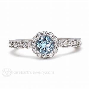 Aquamarine ring vintage style engagement diamond halo for Wedding rings aquamarine