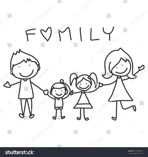 hand drawing cartoon happy family happy stock vector