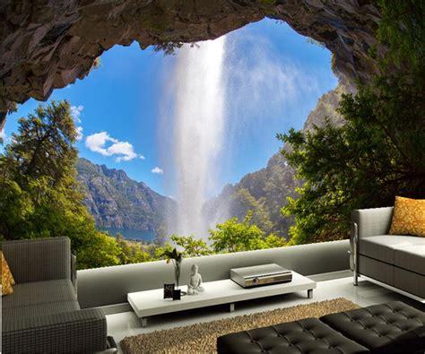 custom mural wallpaperargentina waterfalls crag nature