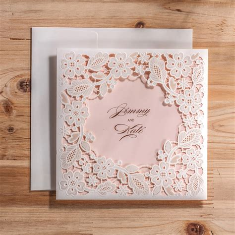 Vintage Laser Cut Wedding Invitations Cards With White