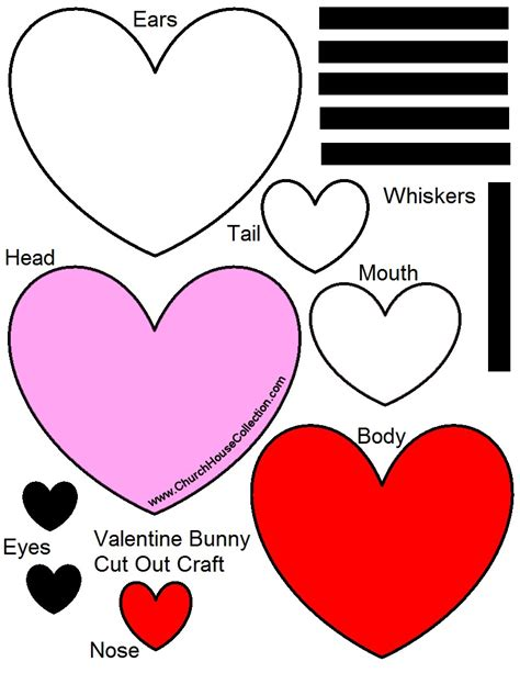 valentines day bunny rabbit heart cutout craft  kids