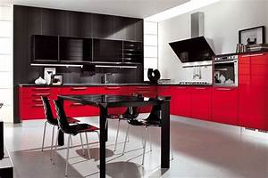 red kitchen decor for modern and retro kitchen design With red and black kitchen designs