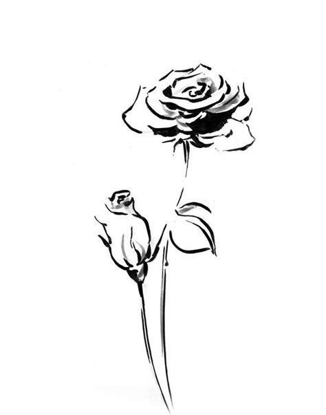 Rose Flower Minimalist art print, black and white ink