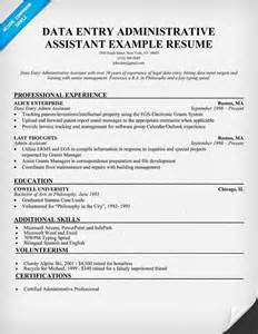 resume format for data entry data entry administrative assistant resume exle resumecompanion resume sles across