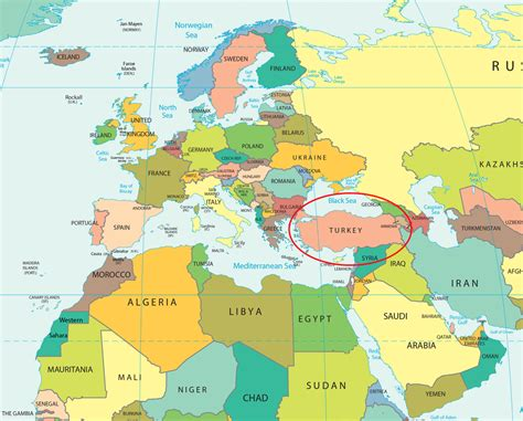 Map Of Turkey And Surrounding Countries Political Map
