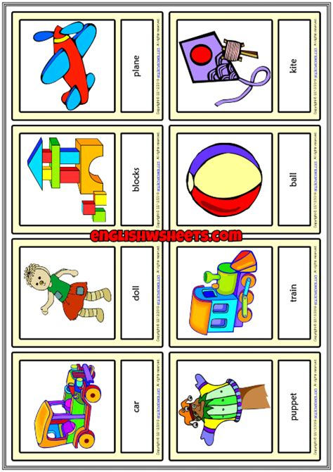 toys esl printable vocabulary learning cards  kids
