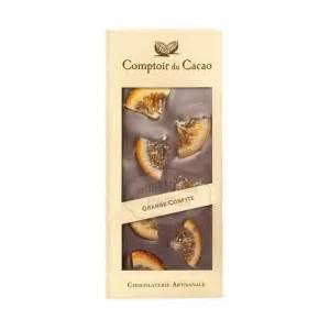 le comptoir du cacao tablette gourmande noir orange confite comptoir du cacao