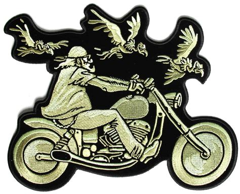 biker and vultures large motorcycle back patch