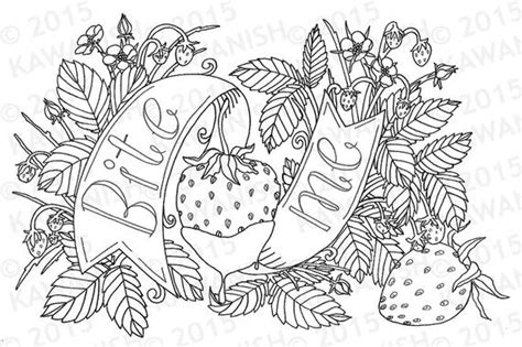 bite  strawberry adult coloring page wall art gift funny