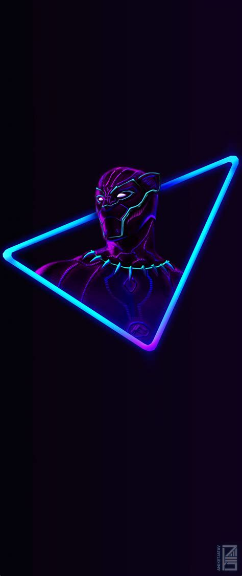 Black Neon Wallpaper Iphone by I Upscaled The Neon Black Panther Artwork For Phone