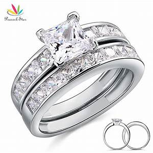 Solid 925 sterling silver 2 pc wedding promise engagement for Promise engagement wedding ring set