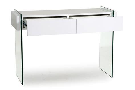 console 2 tiroirs laquée blanc et verre trempé arto